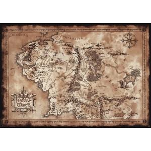 Poster Le Seigneur des Anneaux, carte Terre du Milieu