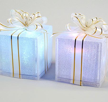 D co no l boite cadeau lumineuse led des cadeaux - Decoration de noel lumineuse ...