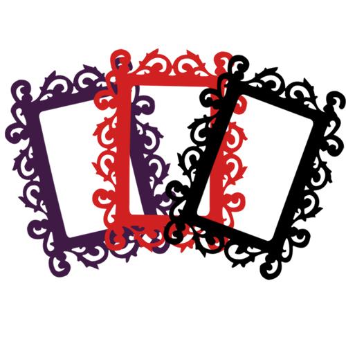 Cadre photo adh sif baorque couleur et design aux contours arabesques d co - Cadre photo rouge design ...