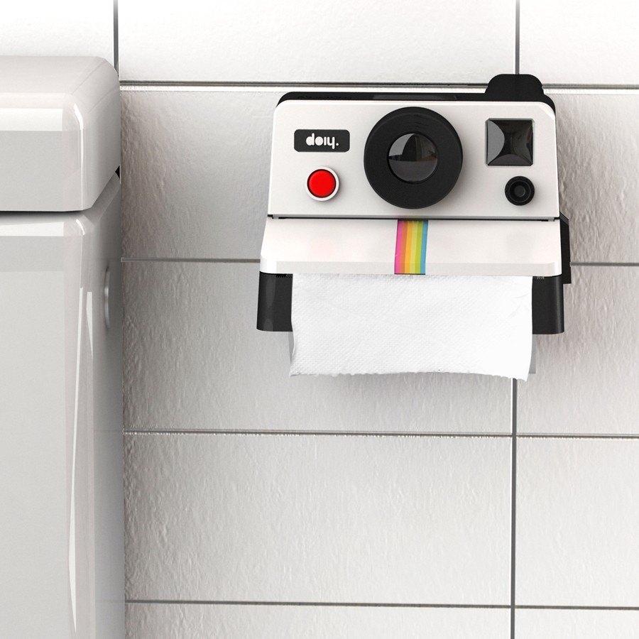 distributeur papier toilette polaroid le d rouleur pq polaroid pour wc insolite super insolite. Black Bedroom Furniture Sets. Home Design Ideas