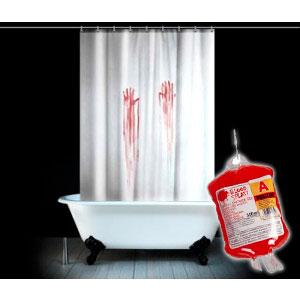 Set salle de bain meurtre un rideau de douche un gel for Support gel douche salle bain