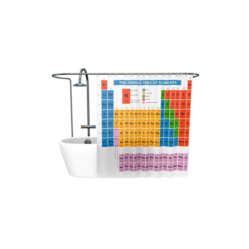 Rideau de douche tableau p riodique chimie inspir de la s rie t - Rideau de douche insolite ...