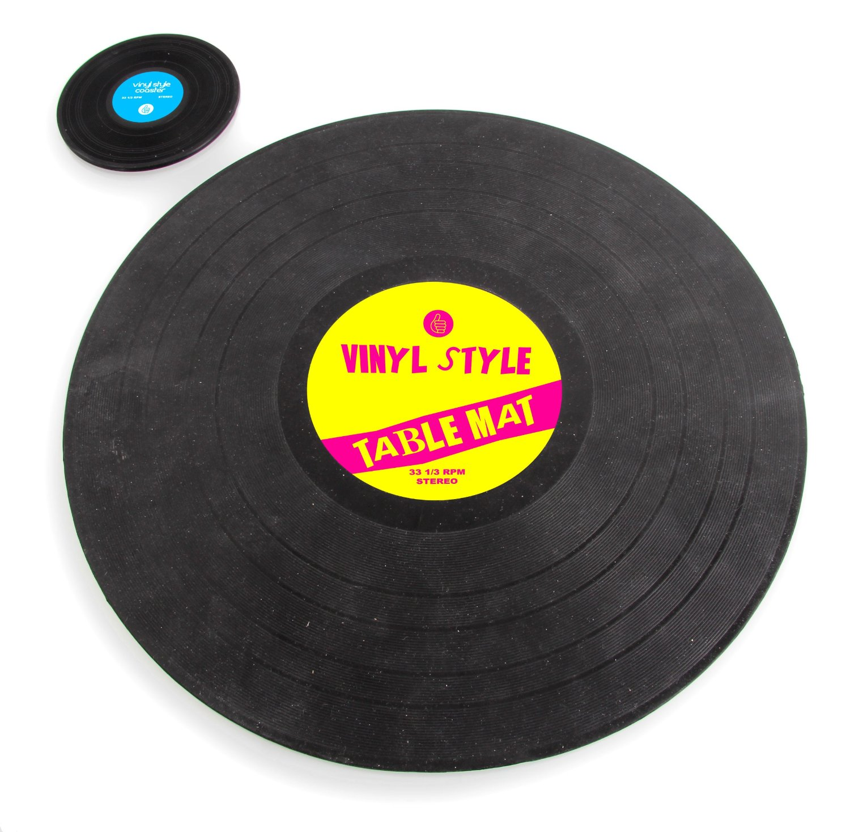 Set de table disque vinyle 33 tours dessous de plat fa on disque vinyle des - Collectionneur de disque vinyl 33 tours ...