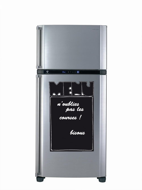 sticker ardoise frigo menu de restaurant d corez votre frigo avec une d co insolite et. Black Bedroom Furniture Sets. Home Design Ideas