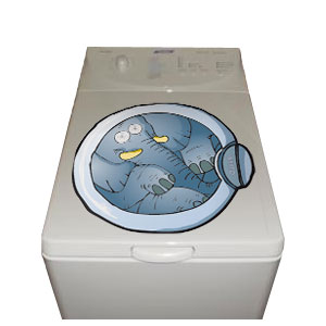 sticker lave linge hublot l phant d co fun pour lave linge super insolite. Black Bedroom Furniture Sets. Home Design Ideas