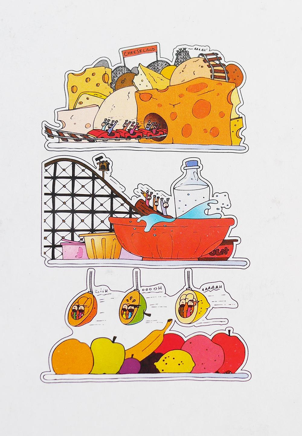 sticker de frigo parc d 39 attraction une d co fun et insolite pour le frigo de la maison. Black Bedroom Furniture Sets. Home Design Ideas