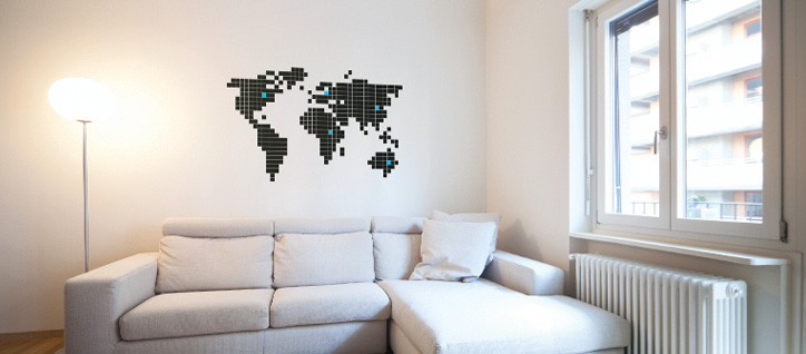 stickers pixel carte du monde autocollants d co pixel planisph re super insolite. Black Bedroom Furniture Sets. Home Design Ideas