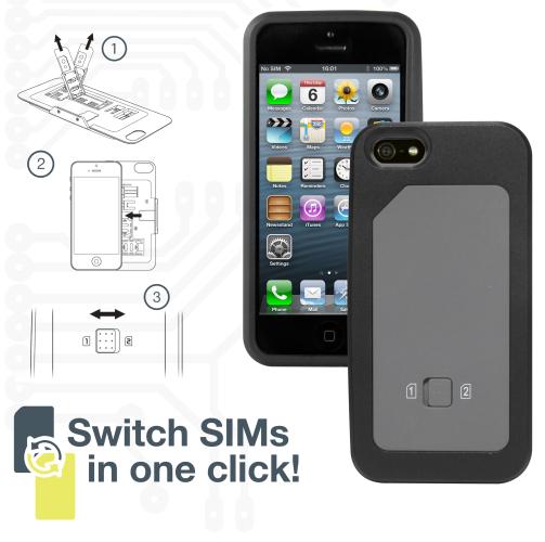 coque iphone 5 5s double carte sim super insolite. Black Bedroom Furniture Sets. Home Design Ideas