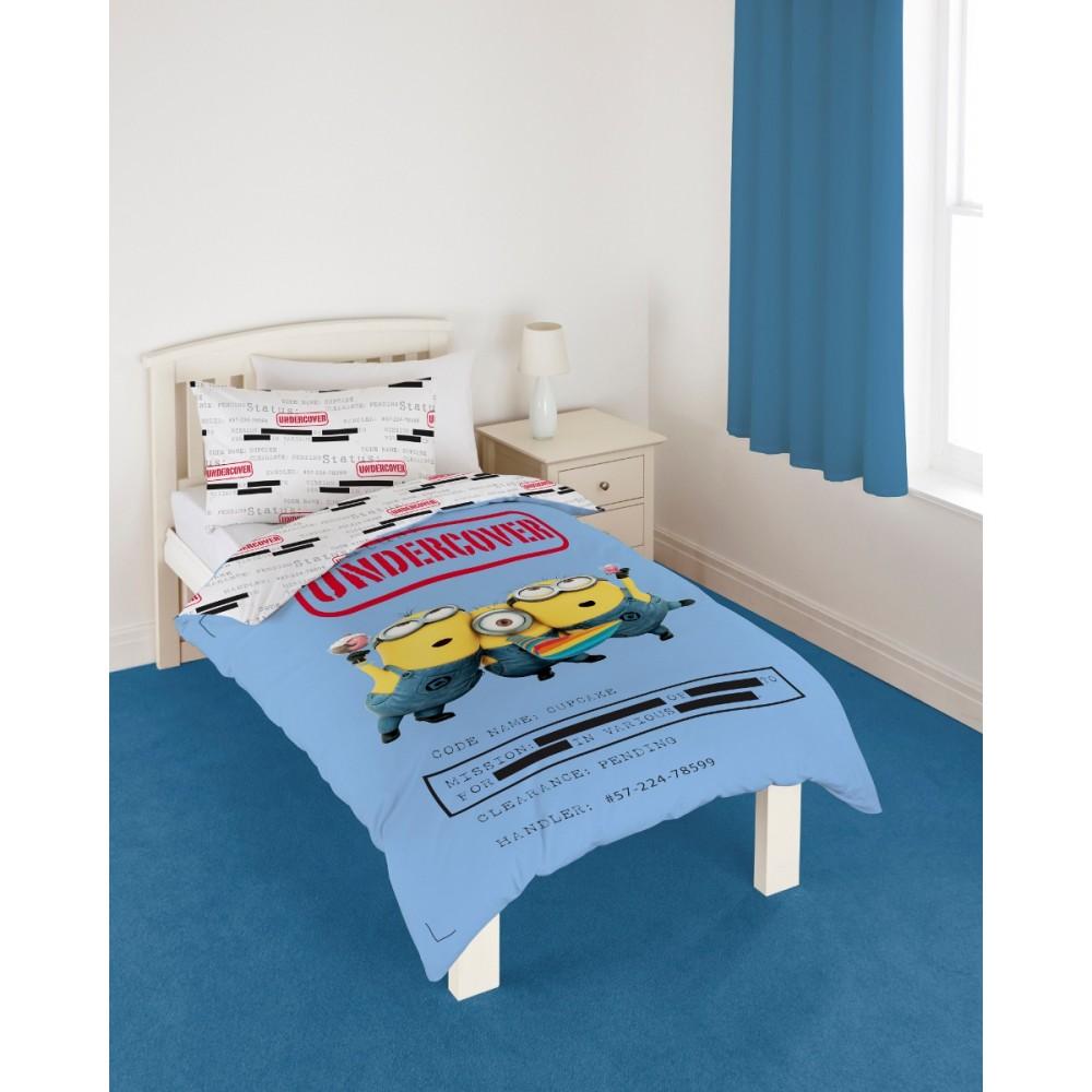 parure de lit minion undercover super insolite. Black Bedroom Furniture Sets. Home Design Ideas