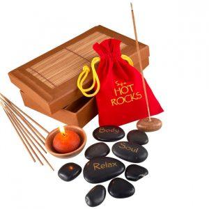 Coffret massage pierres chaudes