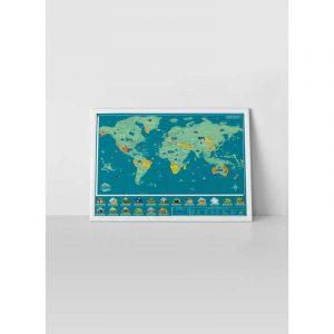 carte du monde à gratter animal