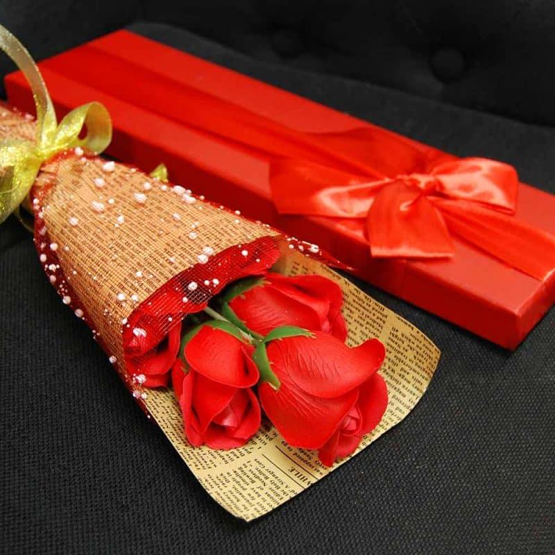 bouquet rose savon