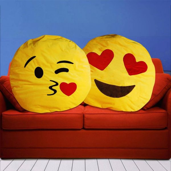 Coussin Emoticone Geant Bisous Coeur Super Insolite