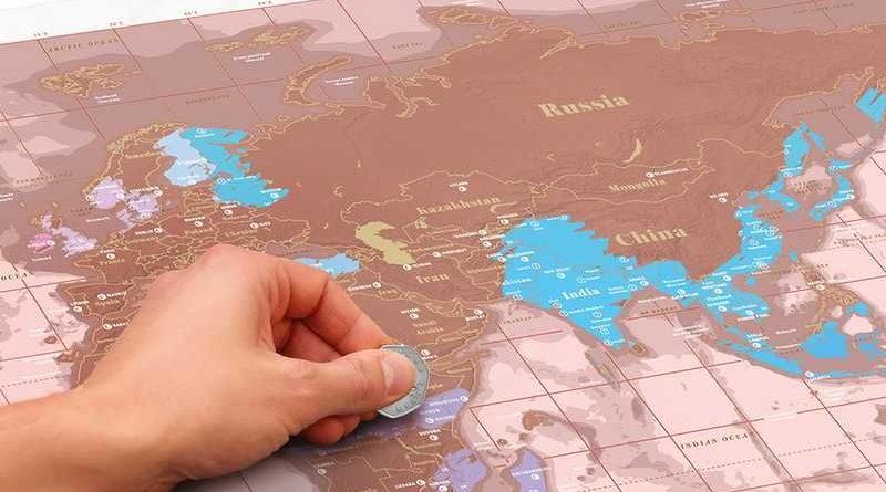 carte du monde à gratter rose doré