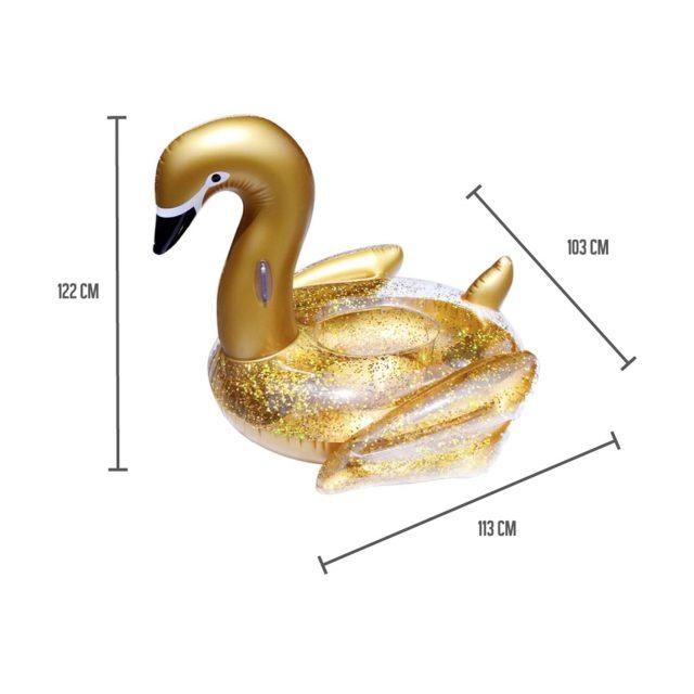 bouée cygne doré avec paillettes