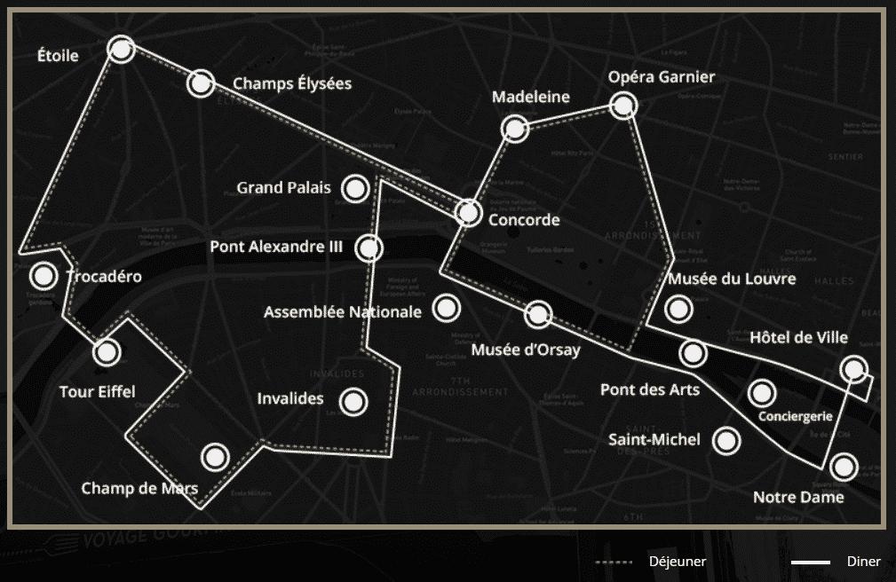 parcours du restaurant bus à Paris
