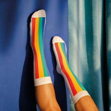 chaussettes gateau arc-en-ciel