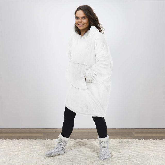 sweat pull capuche plaid blanc